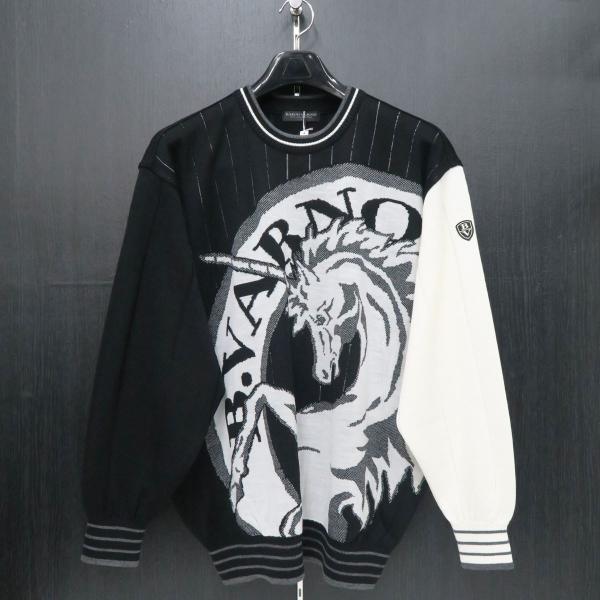 バーニヴァーノ 長袖丸首セーター 黒白 LLサイズ BAW-HSW3013-09 BARNI VARNO|wanwan