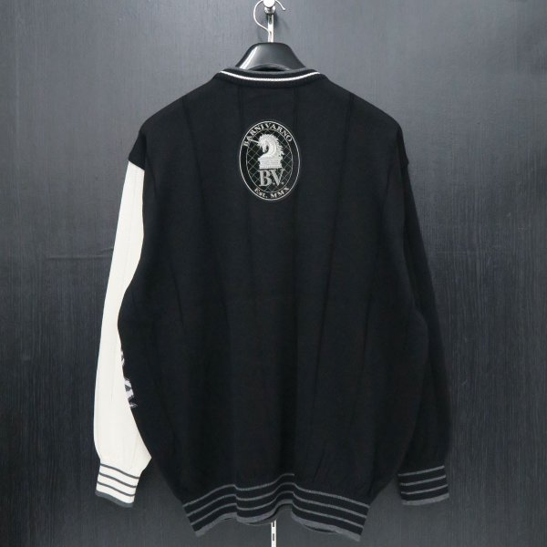 バーニヴァーノ 長袖丸首セーター 黒白 LLサイズ BAW-HSW3013-09 BARNI VARNO|wanwan|02