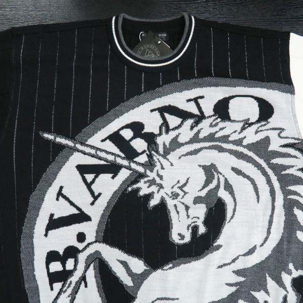 バーニヴァーノ 長袖丸首セーター 黒白 LLサイズ BAW-HSW3013-09 BARNI VARNO|wanwan|03
