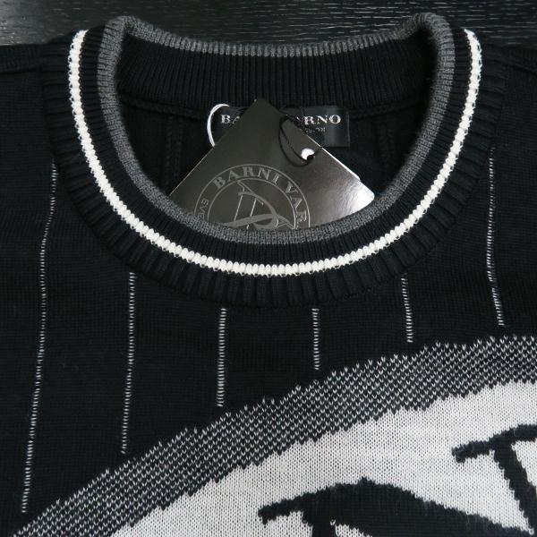 バーニヴァーノ 長袖丸首セーター 黒白 LLサイズ BAW-HSW3013-09 BARNI VARNO|wanwan|04