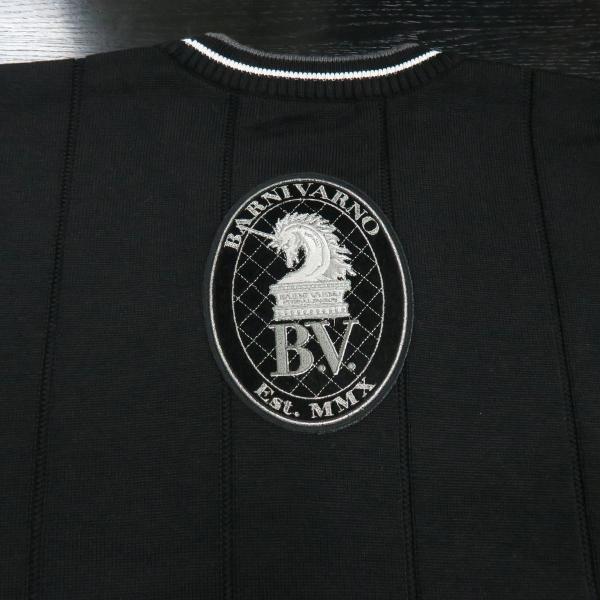 バーニヴァーノ 長袖丸首セーター 黒白 LLサイズ BAW-HSW3013-09 BARNI VARNO|wanwan|07