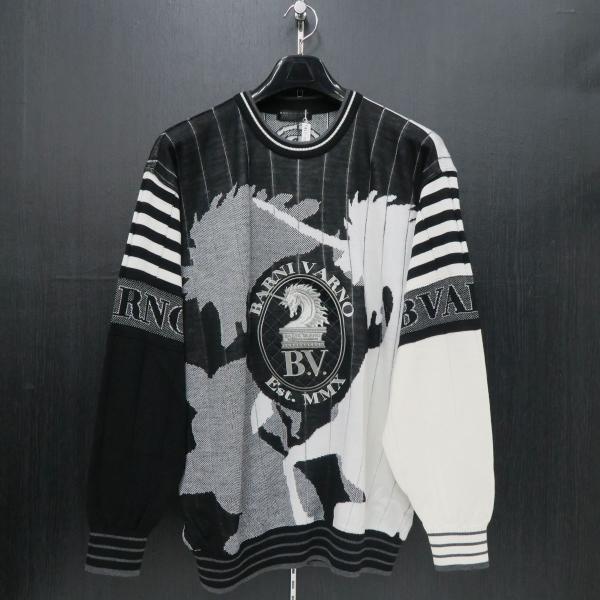 バーニヴァーノ 長袖丸首セーター 白黒 LLサイズ BAW-HSW3015-01 BARNI VARNO wanwan