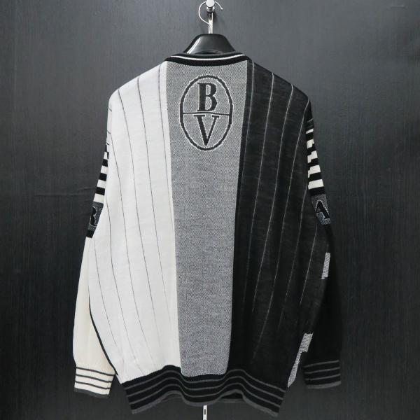 バーニヴァーノ 長袖丸首セーター 白黒 LLサイズ BAW-HSW3015-01 BARNI VARNO 新作|wanwan|02