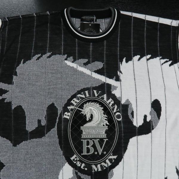 バーニヴァーノ 長袖丸首セーター 白黒 LLサイズ BAW-HSW3015-01 BARNI VARNO 新作|wanwan|03