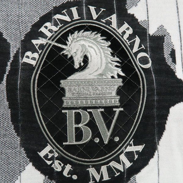 バーニヴァーノ 長袖丸首セーター 白黒 LLサイズ BAW-HSW3015-01 BARNI VARNO 新作|wanwan|04