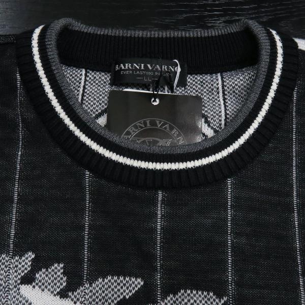 バーニヴァーノ 長袖丸首セーター 白黒 LLサイズ BAW-HSW3015-01 BARNI VARNO 新作|wanwan|05