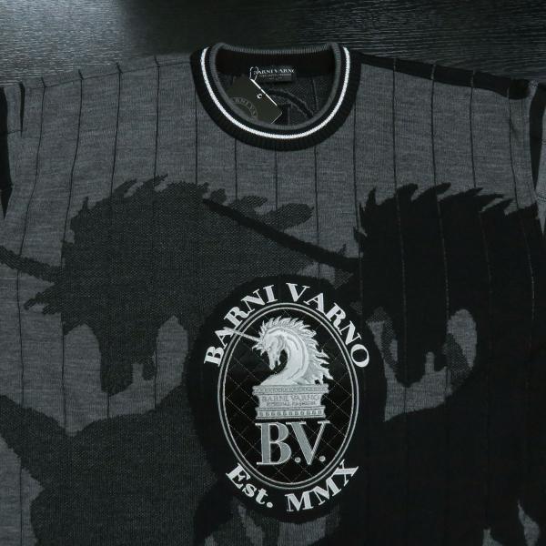 バーニヴァーノ 長袖丸首セーター 黒グレー LLサイズ BAW-HSW3015-09 BARNI VARNO|wanwan|03
