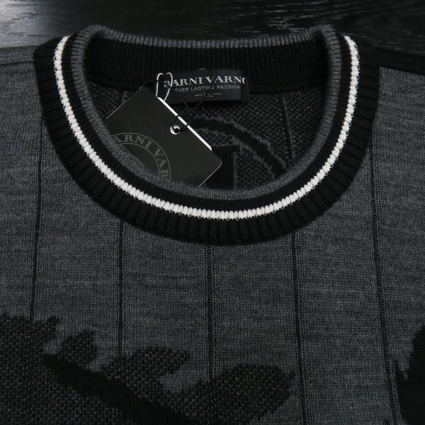 バーニヴァーノ 長袖丸首セーター 黒グレー LLサイズ BAW-HSW3015-09 BARNI VARNO|wanwan|04