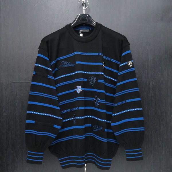 バーニヴァーノ 丸首セーター 黒青 LLサイズ BAW-HSW3018-09 BARNI VARNO|wanwan