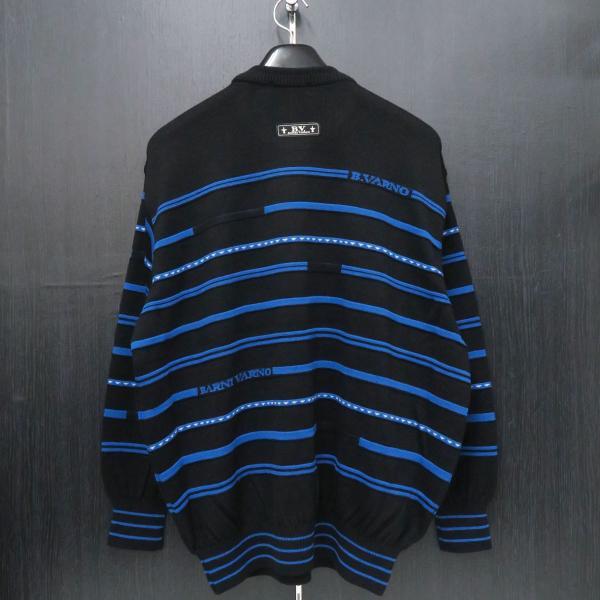 バーニヴァーノ 丸首セーター 黒青 LLサイズ BAW-HSW3018-09 BARNI VARNO|wanwan|02