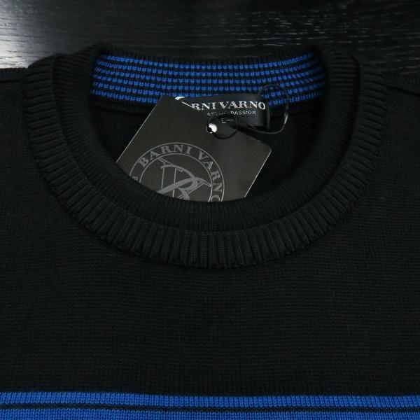 バーニヴァーノ 丸首セーター 黒青 LLサイズ BAW-HSW3018-09 BARNI VARNO|wanwan|04
