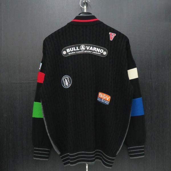 バーニヴァーノ ブルドッグハーフジップセーター グレー黒 Lサイズ BAW-HSW3025-09 BARNI VARNO|wanwan|02