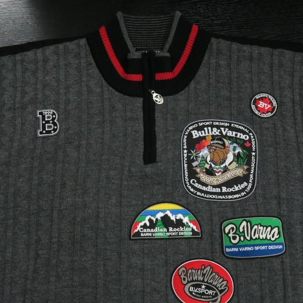 バーニヴァーノ ブルドッグハーフジップセーター グレー黒 Lサイズ BAW-HSW3025-09 BARNI VARNO|wanwan|03