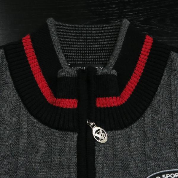 バーニヴァーノ ブルドッグハーフジップセーター グレー黒 Lサイズ BAW-HSW3025-09 BARNI VARNO|wanwan|04
