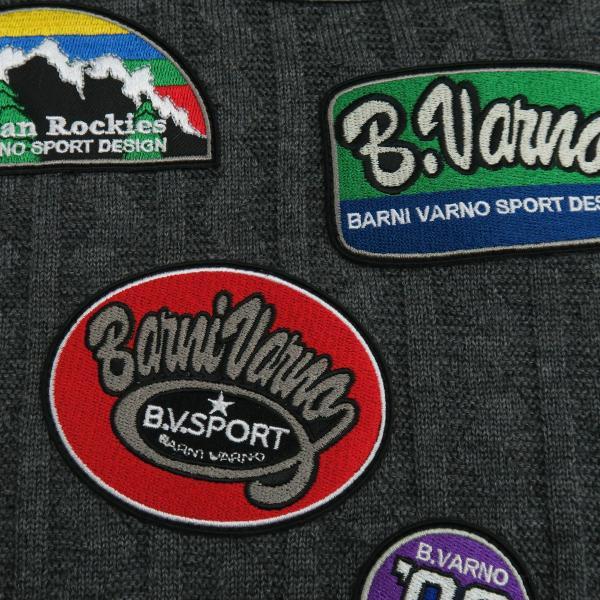 バーニヴァーノ ブルドッグハーフジップセーター グレー黒 Lサイズ BAW-HSW3025-09 BARNI VARNO|wanwan|06