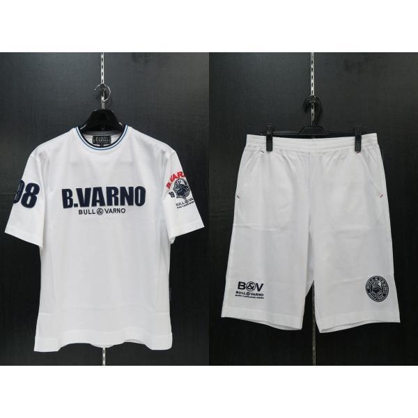バーニヴァーノ 半袖Tシャツハーフパンツ上下セット 白 Lサイズ BSS-GTH2423-01 BARNI VARNO|wanwan
