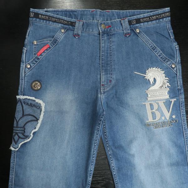 バーニヴァーノ 5ポケットジーンズ 薄いインディゴブルー 82-100cm BSS-HJZ2880-63 BARNI VARNO|wanwan|03