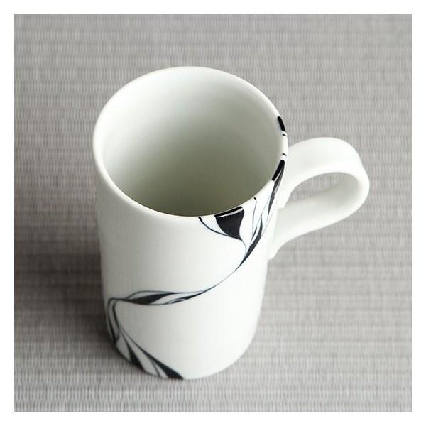 砥部焼 おしゃれ 【マグカップ スリム】 コーヒーカップ モダン 白黒 窯元 和将窯 Washo-111|wapal|04