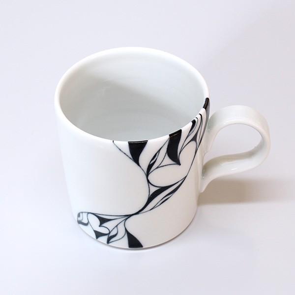 砥部焼 おしゃれ 【マグカップ ハート】 コーヒーカップ モダン 白黒 窯元 和将窯 Washo-108|wapal|04
