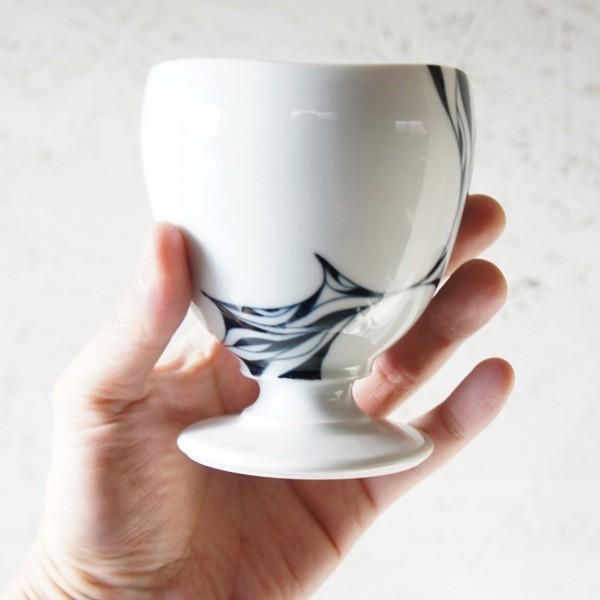 砥部焼 おしゃれ 【ワインカップ】 カクテルグラス フリーカップ モダン 白黒 窯元 和将窯 Washo-119|wapal|06