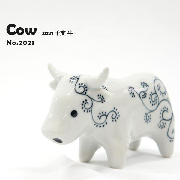 2021 干支【牛(丑)の置物】 かわいい 砥部焼 十二干支シリーズ 縁起物 窯元 和将窯 Washo-2021 wapal