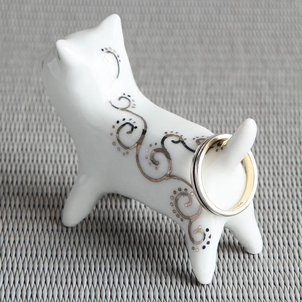猫 置物 陶器 【ネコのリングホルダー シルバー】 指輪 リングピロー おしゃれ アクセサリー 収納 砥部焼 和将窯 Washo-303S wapal 04