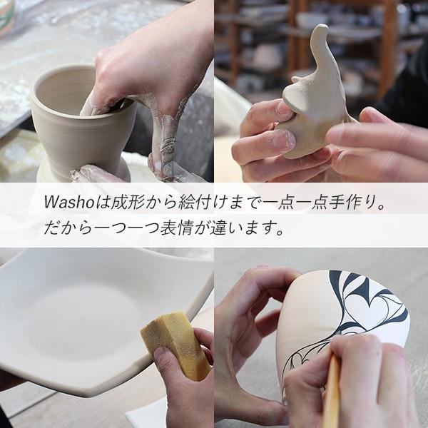チェス ドクロ スカル Washo 902 砥部焼 おしゃれ 窯元 和将窯 モダン 白黒 陶板 wapal 03