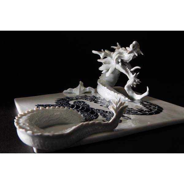 砥部焼 おしゃれ 【ドラゴンプレート】 置物 窯元 和将窯 ブランコネグロ Washo-910|wapal|04