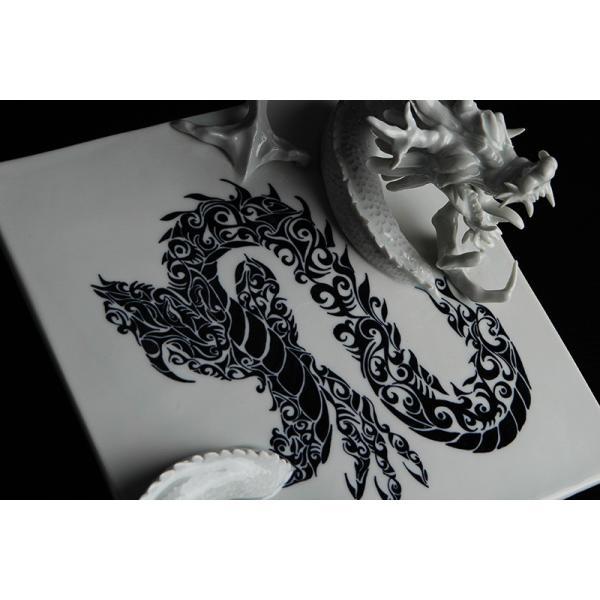 砥部焼 おしゃれ 【ドラゴンプレート】 置物 窯元 和将窯 ブランコネグロ Washo-910|wapal|08