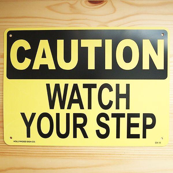 看板/プラサインボード 足元注意 Watch Your Step CA-10 *メール便不可 wappenstore