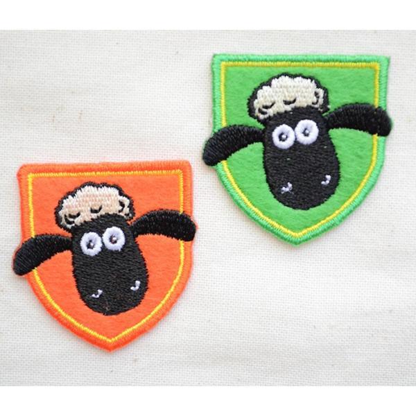 ワッペン ひつじのショーン/Shaum the Sheep (エンブレム/2枚組) 名前 作り方 HS500-HS08