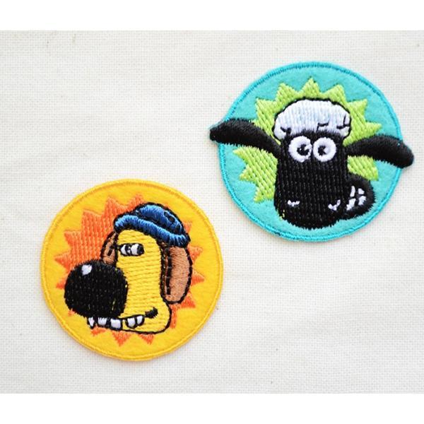 ワッペン ひつじのショーン/Shaum the Sheep (ラウンド/2枚組) 名前 作り方 HS500-HS12