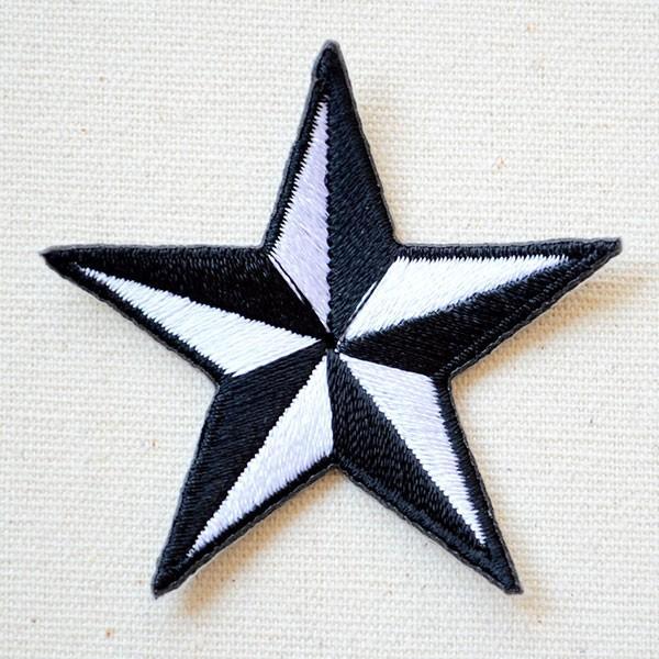 ワッペン 星/スター Star(ホワイト&ブラック) Sサイズ 名前 作り方 MTW-302|wappenstore