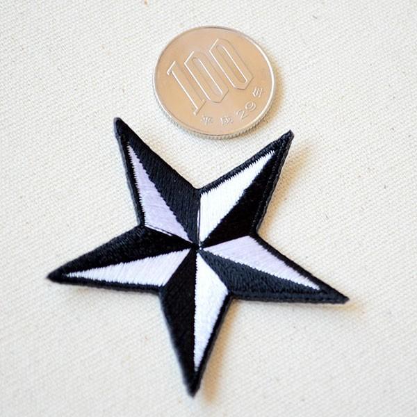 ワッペン 星/スター Star(ホワイト&ブラック) Sサイズ 名前 作り方 MTW-302|wappenstore|02