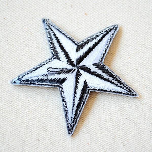 ワッペン 星/スター Star(ホワイト&ブラック) Sサイズ 名前 作り方 MTW-302|wappenstore|03