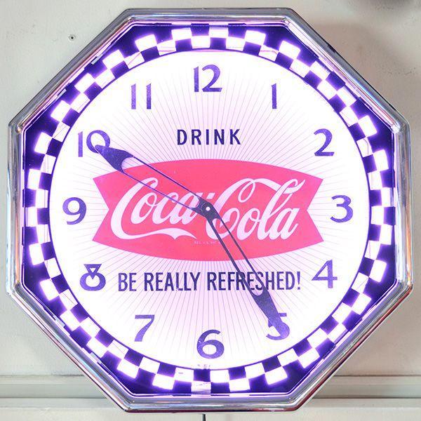 コカコーラ Coca-Cola 壁掛け時計/レトロネオンクロック PJC-R02 *送料無料 *代引不可 wappenstore