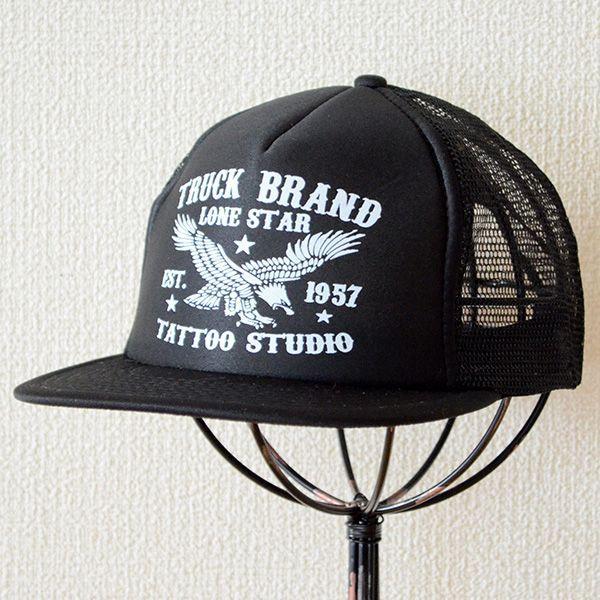 帽子/メッシュキャップ トラックブランド Tattoo(ブラック/フラットブリム) F6 [メール便不可] wappenstore