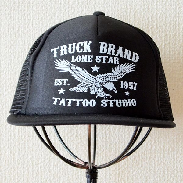 帽子/メッシュキャップ トラックブランド Tattoo(ブラック/フラットブリム) F6 [メール便不可] wappenstore 02