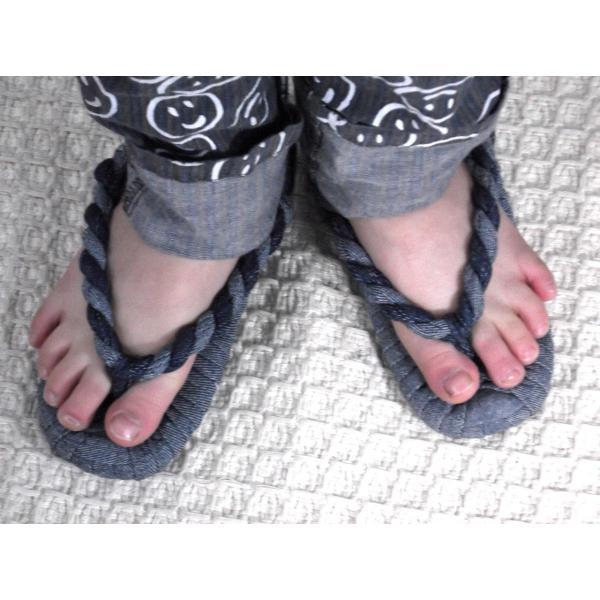 わらじぐみ こども用 布ぞうり デニム 紺生地コンビ (DENI-2) (20cm、18cm、16cm)|warajigumi-store|02