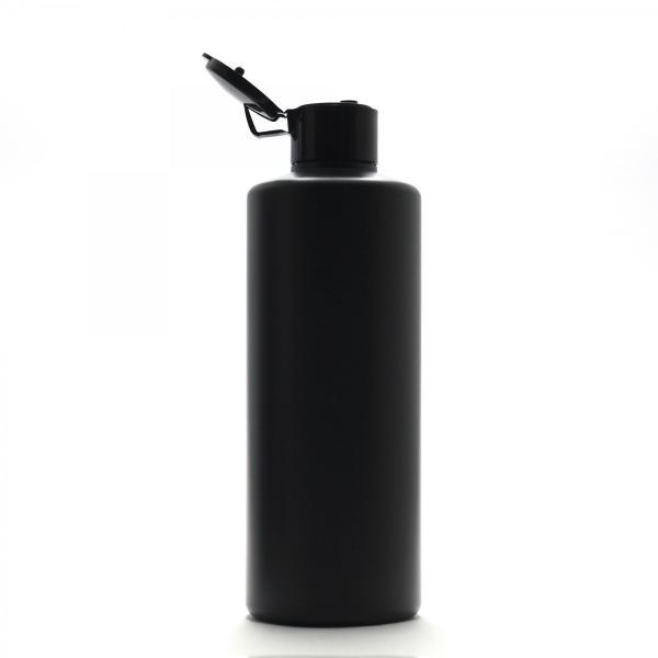 プラスチック容器 300mL PE ストレートボトル 遮光黒【ヒンジキャプ:ブラック】