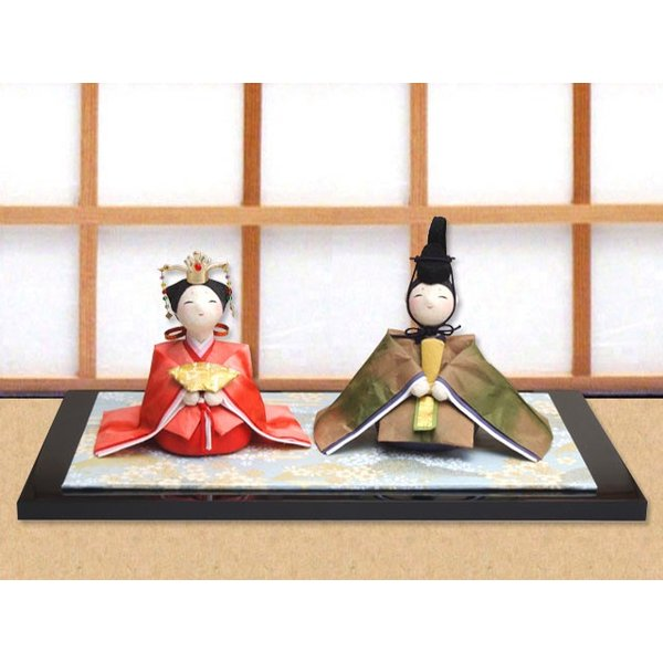 雛人形 ひな人形「和紙衣座り雛」rh286 コンパクト 収納/リュウコドウ
