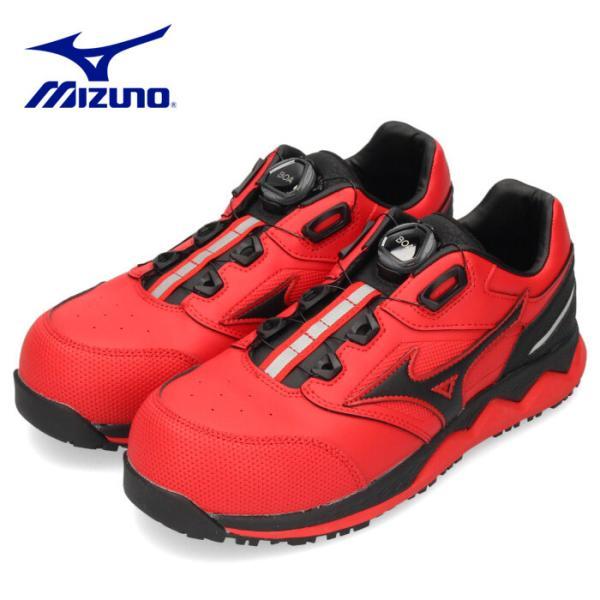 ミズノ MIZUNO オールマイティ ALMIGHTY HW52L BOA F1GA210462 安全靴 作業靴 スニーカー メンズ レッド/ブラック プロテクティブスニーカー 2104