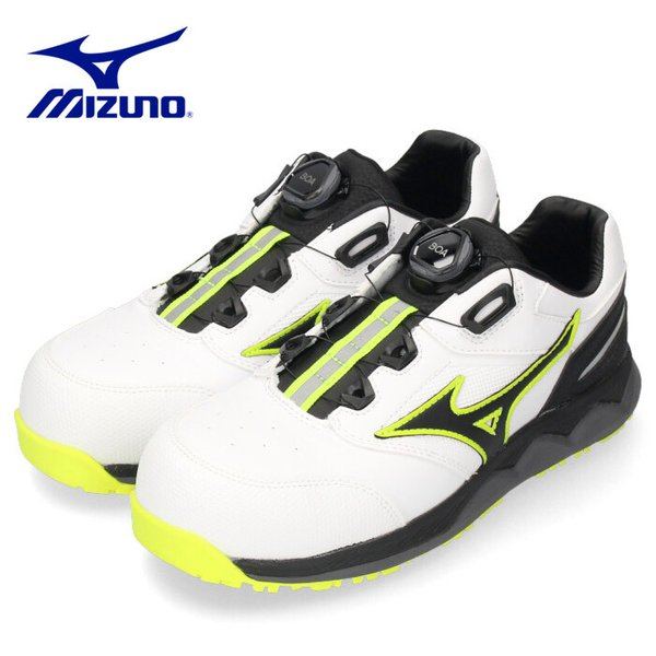 ミズノ MIZUNO オールマイティ ALMIGHTY HW52L BOA F1GA210401 安全靴 作業靴 スニーカー メンズ ホワイト/ブラック プロテクティブスニーカー 2104