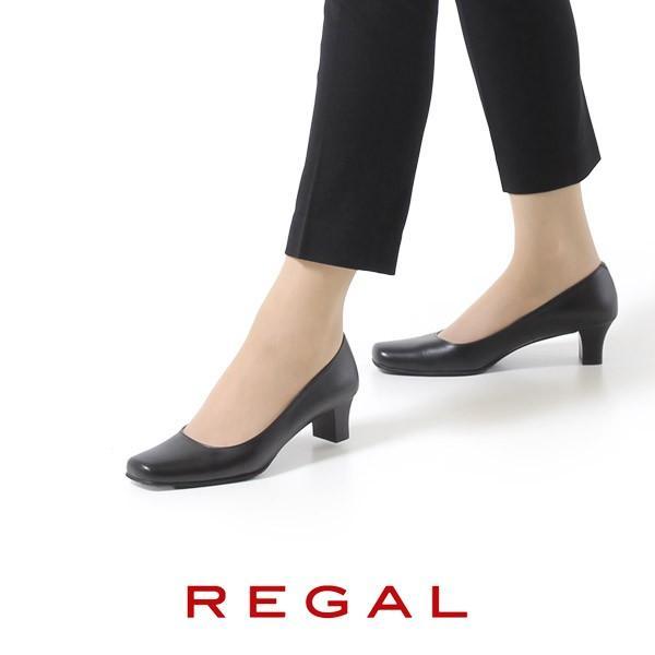 リーガル レディース 黒 パンプス ローヒール 靴 REGAL 6768 本革 リクルート 就活 就職活動 仕事 冠婚葬祭|washington|02