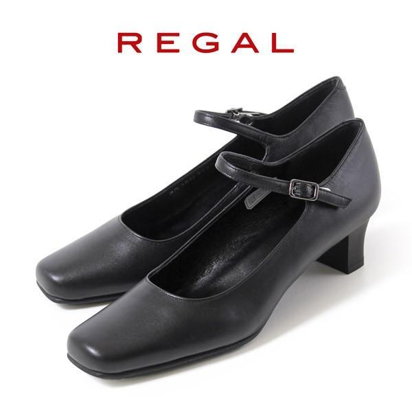 リーガル レディース 黒 パンプス ストラップ 靴 REGAL 6769 本革 リクルート 就活 就職活動 仕事 冠婚葬祭 washington
