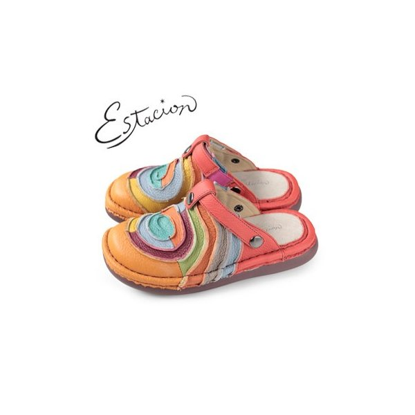 エスタシオン 靴 estacion TG034 (OR) 本革 厚底 コンフォート ミュール サンダル ぺたんこ レディース|washington