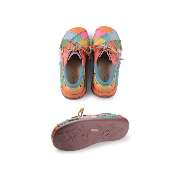 エスタシオン 靴 estacion TG154 (MT) 本革 厚底 カジュアルシューズ コンフォートシューズ レディース 紐靴 レースアップシューズ マルチカラー|washington|03