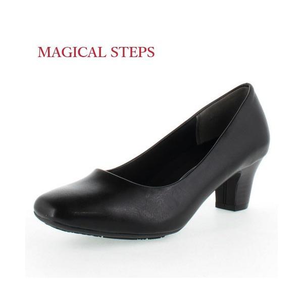 MAGICALSTEPSマジカルステップス靴5540リクルート冠婚葬祭就活就職活動仕事パンプスブラックレディース4Eスクエアトゥ