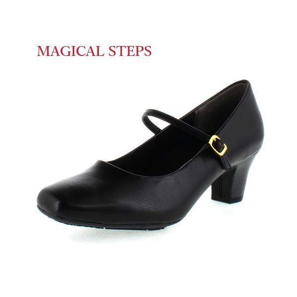 MAGICALSTEPSマジカルステップス靴5541リクルート冠婚葬祭就活就職活動仕事パンプスブラックレディース4Eスクエアトゥ