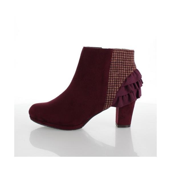 JELLY BEANS ジェリービーンズ 靴 2200 ブーツ ショート フリル ヒール スエード調 ワイン レッド レディース セール|washington|02
